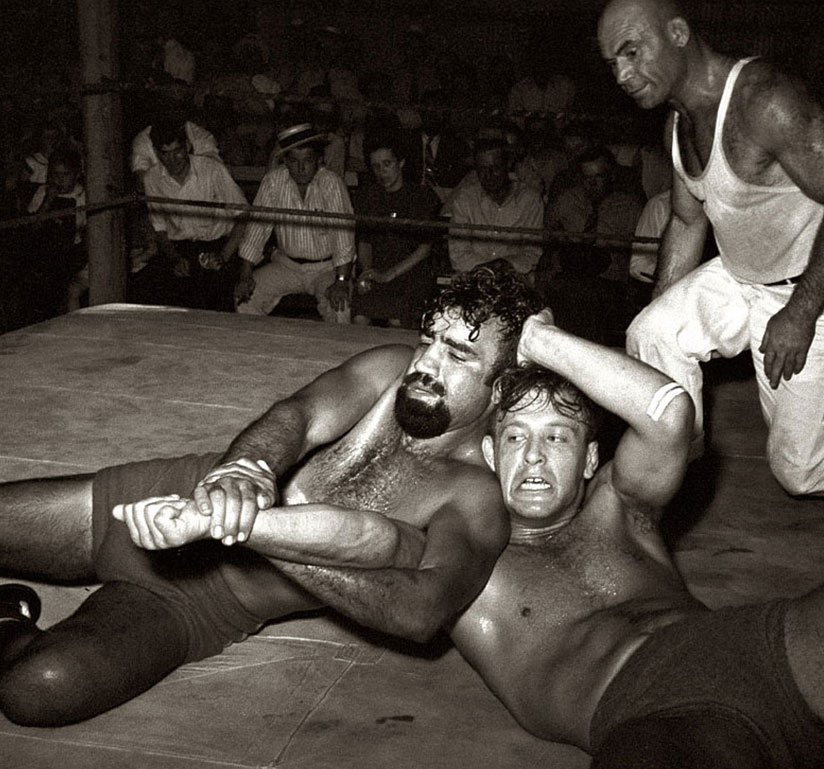 An old-time wrestling match
